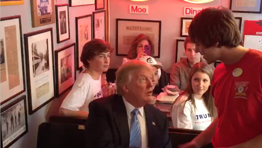 Donald Trump at the Red Arrow Diner Manchester